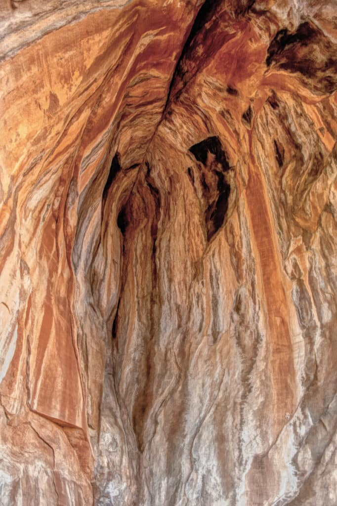 Water stains cause picturesque streaks in an alcove at Palatki Heritage Site near Sedona, Arizona.