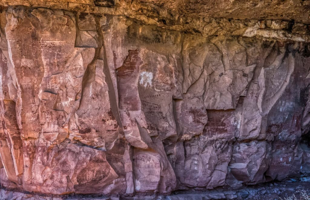 Overview of a grouping of pictographs at Palatki Heritage Site near Sedona, Arizona.