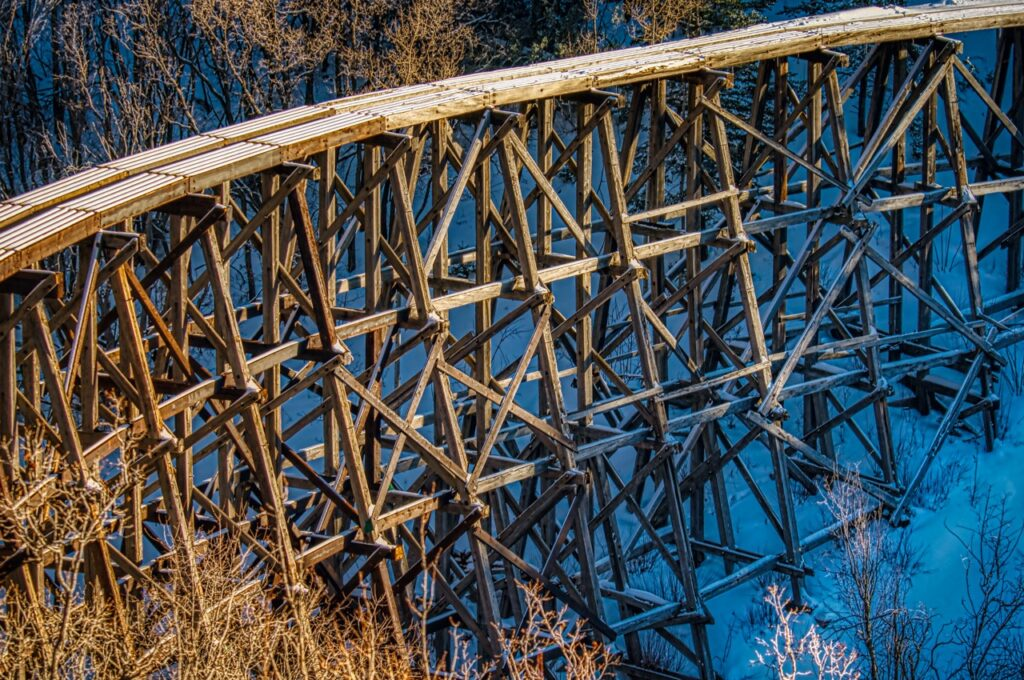 The Mexican Canyon Railroad Trestle was part of the Alamogordo and Sacramento Mountain Railway that ran to the ski village of Cloudcroft, near Alamogordo, New Mexico.