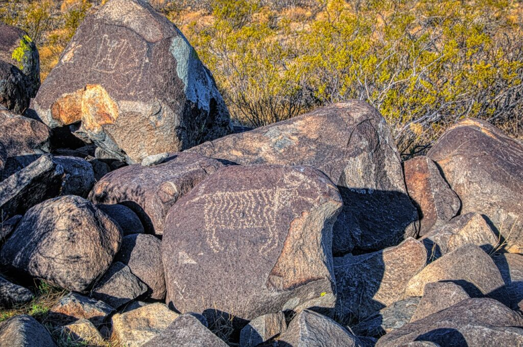 Petroglyphs at Three Rivers Petroglyph Site north of Alamogordo, New Mexico.
