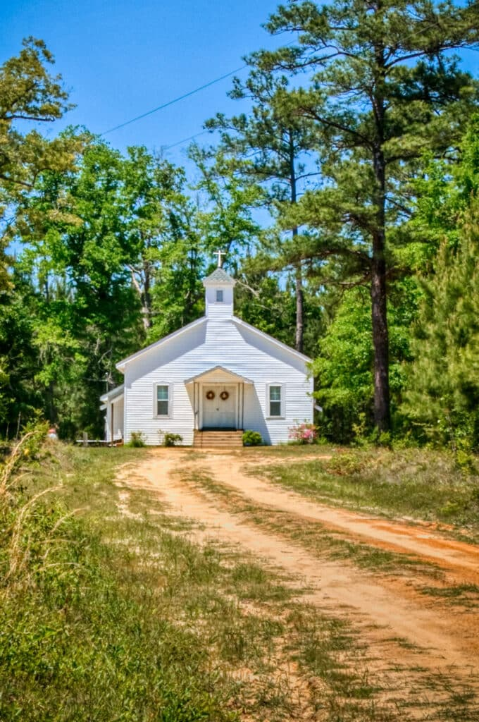 Every little community has their church. This beautiful example sits up a narrow lane off CR-42, the Brooklyn Road, near Evergreen, Alabama.