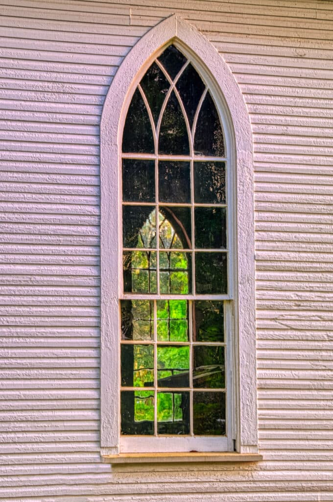 A view through a window on the west side of St. Mary's church to a window on the east side of the church.