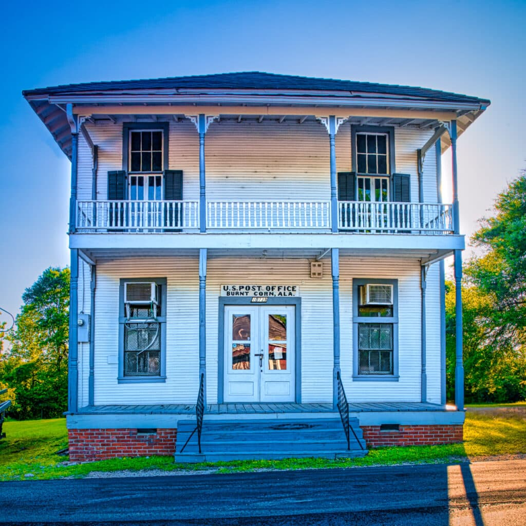 The old post office at Burnt Corn in Conecuh County, near Evergreen, Alabama.