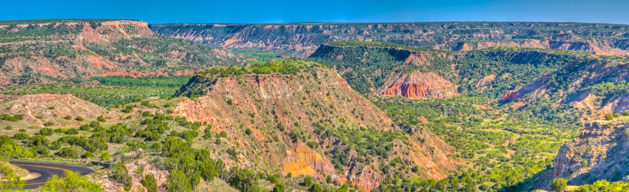 A panoramic view of Palo Duro State Park near Amarillo, Texas.