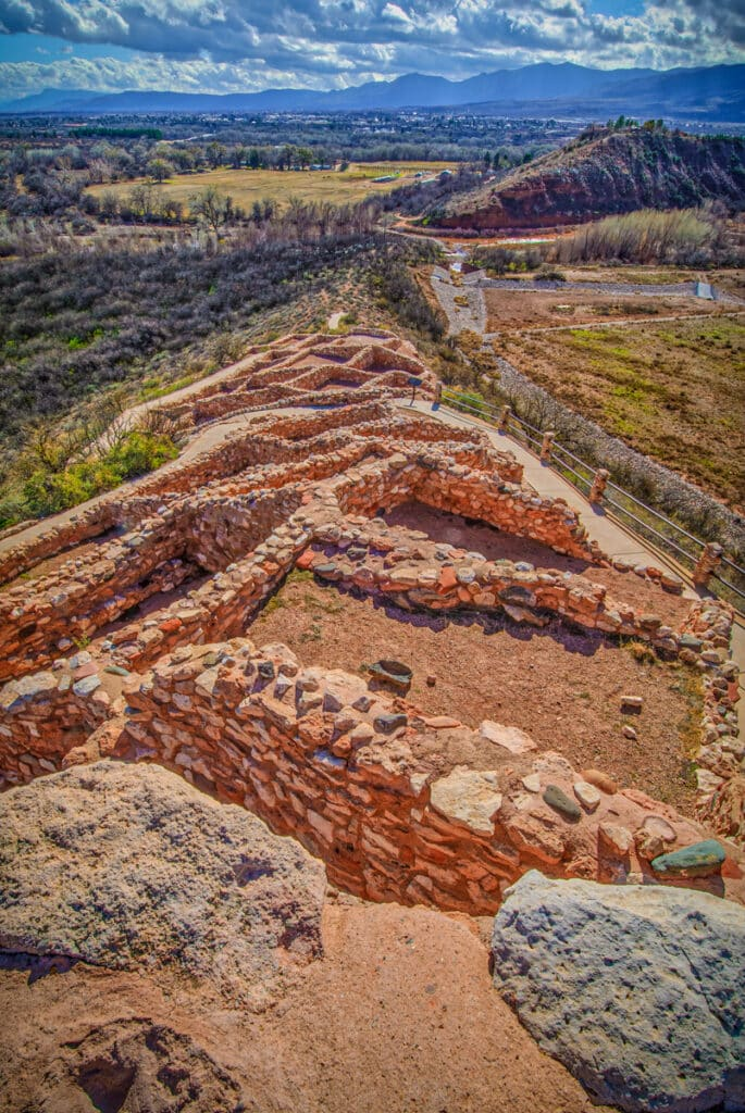 The ruins of a Sinaguan three-story pueblo run along a outcropping in the Verde Valley near Clarkdale, Arizona. The site is the main feature of Tuzigoot National Monument.