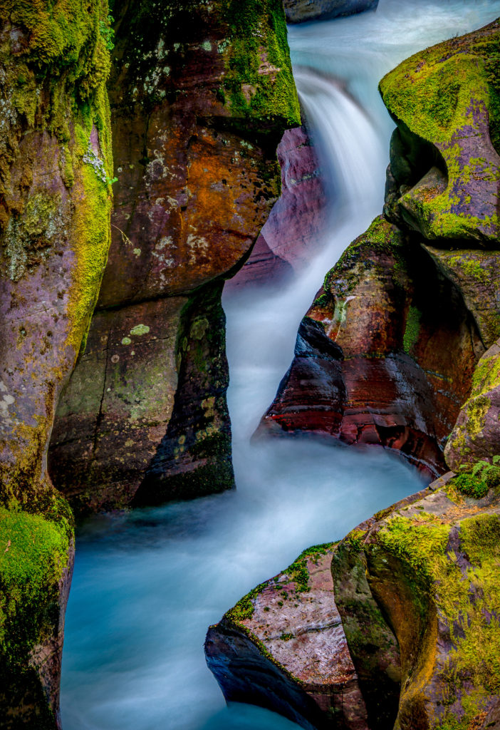 A timed exposure of Avalanche Falls in Avalanche Gorge in Glacier National Park in Montana.