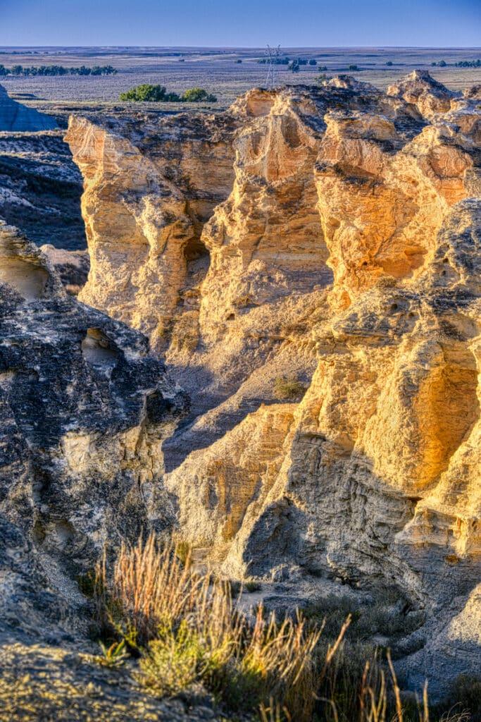 Eroded Niobrara chalk viewed from the rim of Little Jerusalem State Park badlands.