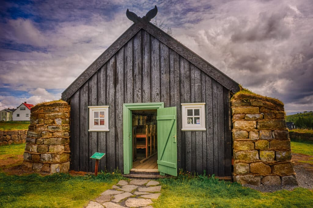This sod church, built in 1842 in the north of Iceland, was moved to this located in 1960 and is now an exhibit at the Árbæjarsafn open air museum on the ourskirts of Reykjavik.