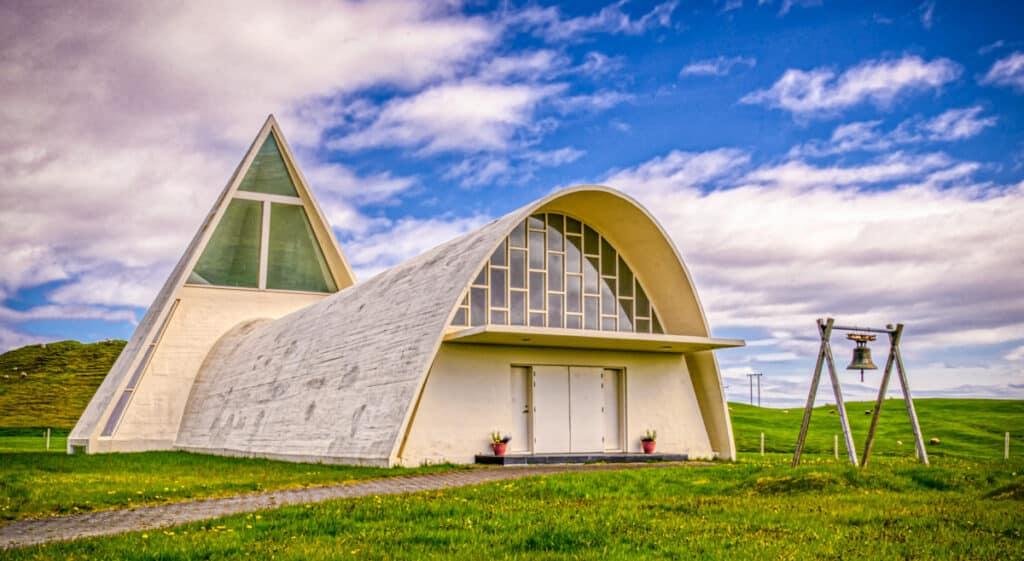 Bjarnarneskirkja is near the Ring Road, north of Hofn in Iceland.