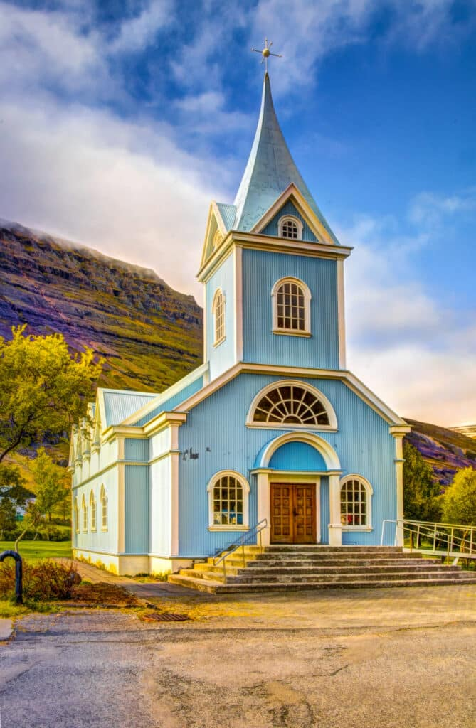 Bláa Kirkjan, or blue church, is one of the lovliest buildings in the village of Seyðisfjörður. Not only is it a place of worship, but it also serves as a venue for jazz, classical and folk concerts during the summer.