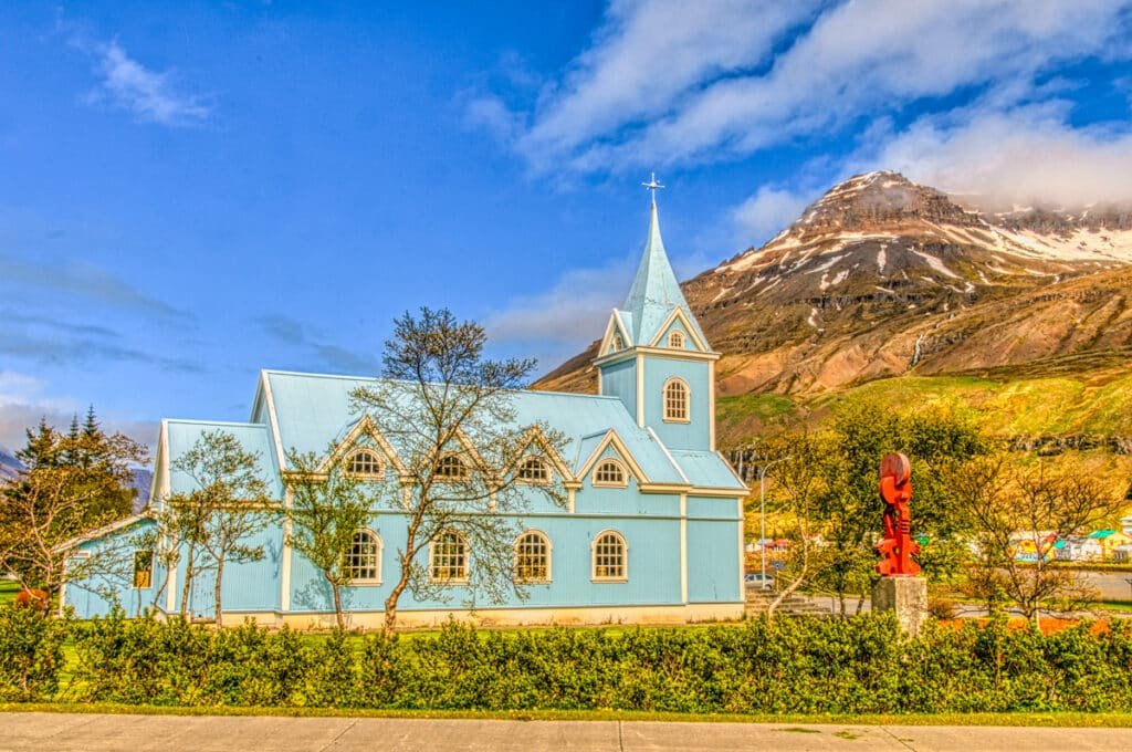 This view of Bláa Kirkjan gives you a better feeling for the size of this church.Although we did not get to see the interior during our visit, the photos we have seen on the Web depict a sanctuary bathed in light, with a large pipe organ and chior in the loft.