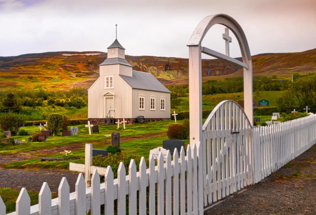 The present church at Kirkjuhvammur, near Hvammstangi, was built in the summer of 1882. It was discontinued as a parish church in 1957, after the new chuch in Hvammstangi was consecrated.The church started to deteriorate and was taken over by the National Museum in 1976. After extensive repairs started in 1992, the building was re-consecrated in 1997.