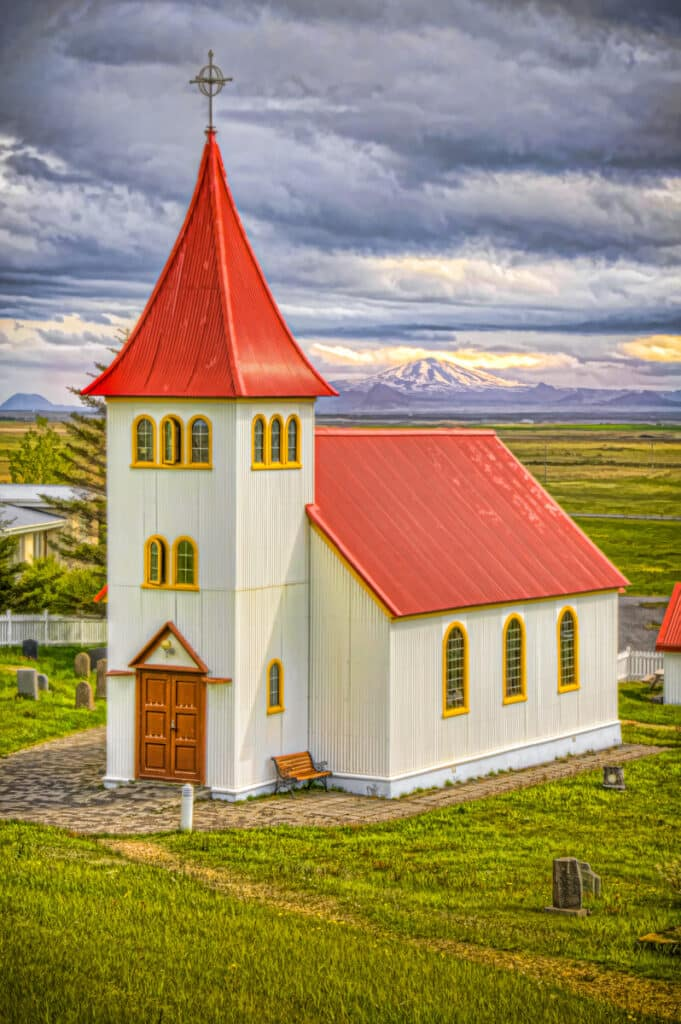 The church in Oddi in southwestern Iceland sits within the range of the Hekla volcano. Hekla may look serene but it is a nasty neighbor. It´s past contributions included poisonous fluorine gas and enough ash to stop tree growth for a decade. Legend had it that Hekla was one of two entrances to Hell, the other being Stomboli.