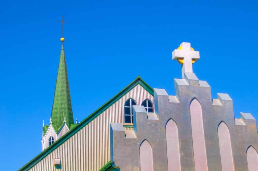 View from the rear of the church Frikirkjan in Reykjavik.
