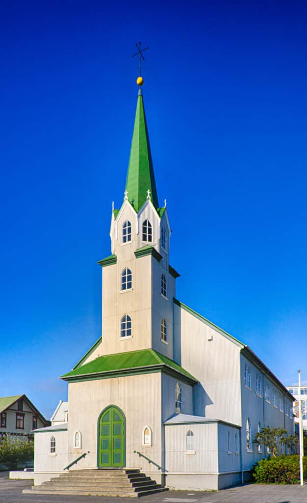 The Free Church in Reykjavik is a Lutheran church more aligned to Lutheran churches found in Norway and North America. It is not affiliated with the National Church of Ice- land. Constructed started in 1901 on the shores of Lake Tjornin in 1901.And, it was con- secrated in 1903.The rear of the church is concrete and is part of a new chancel that was added in 1924.