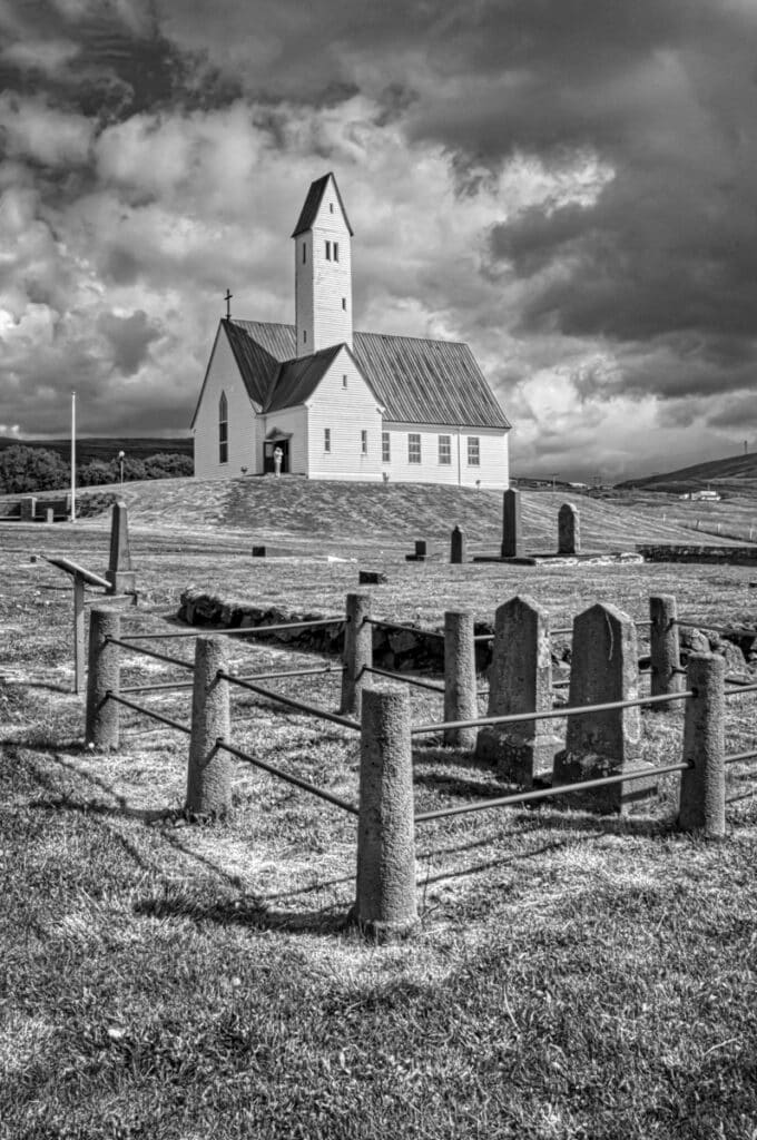 The church Hallgrímskirkja on the north shore of Hvalfjörður in southwestern Iceland. Just to be clear, there is also a Hallgrímskirkja in Reykjavik. It is much bigger.