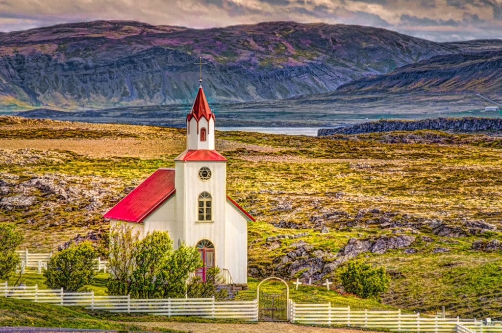 Church at Helgafell, just south of Stykkishólmur on the Snæfellsnes peninsula in western Iceland.