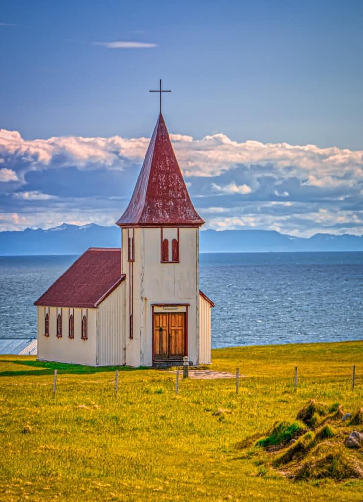 This church near Hellnar sits below the Snaefellsjokull ice cap.