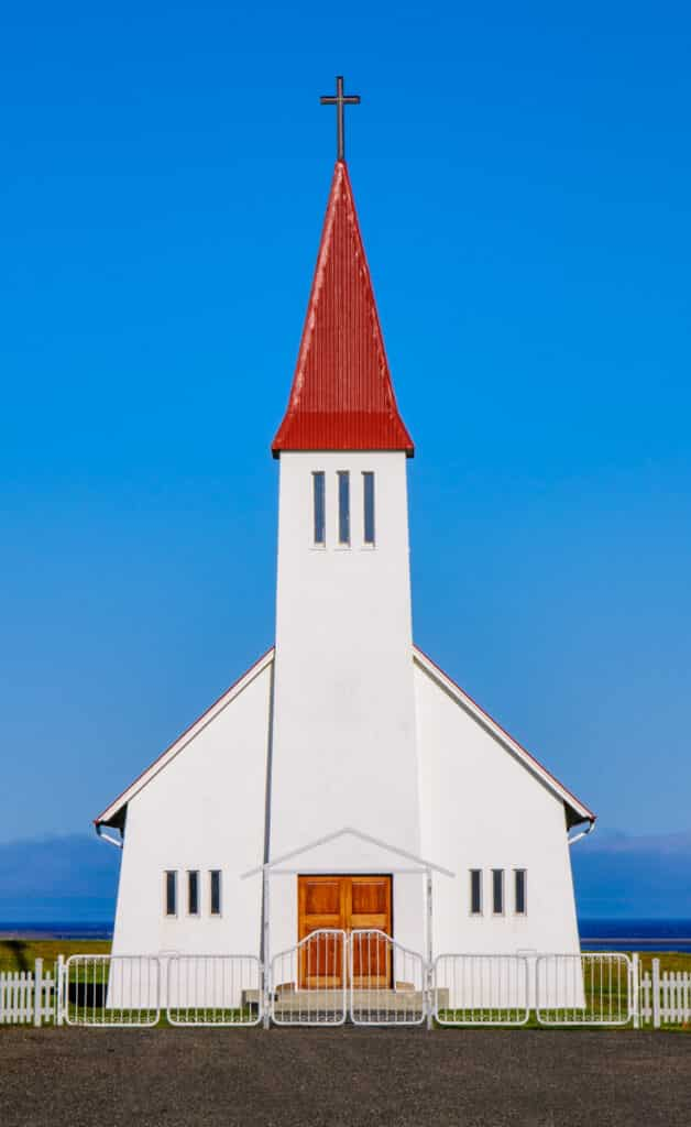 The church at Heydalir, often called Eydalir, is part of a farm and parson- age complex.An older church, built in 1856, sat nearby and was former- ly considered one of the richest parishes in Iceland.This older church, which stood beside the new church pictured here, burned down under suspicious circumstances.