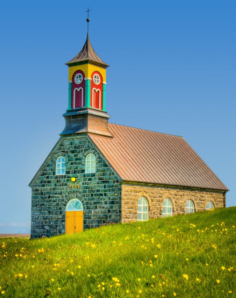 Stone church in Hvalsnes, overlooking the Atlantic, just west of the Keflavik Airport in Iceland.