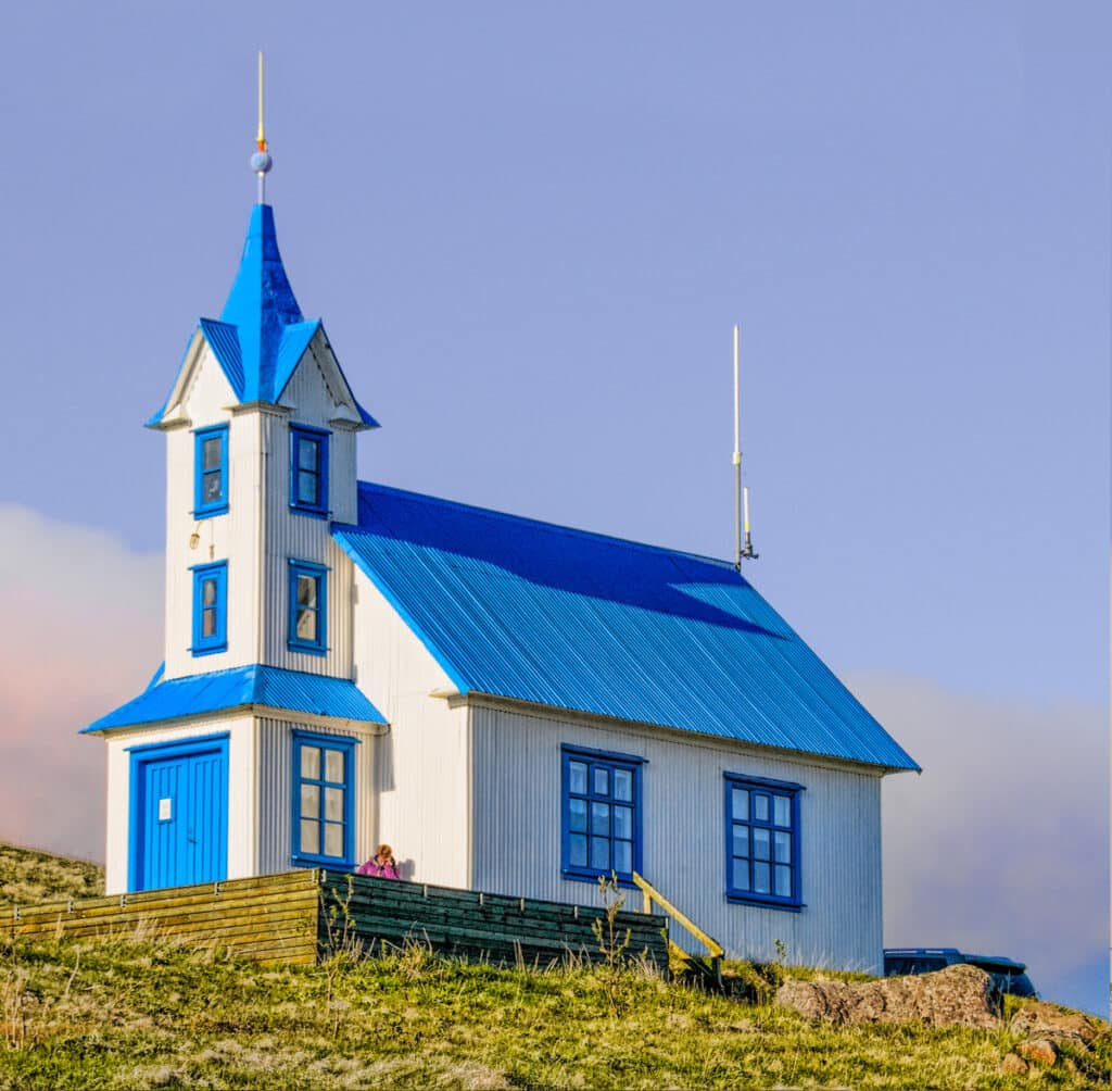 Now for something a little different. Kirkjubær, in Stöðvarfjörður, is a deconsecrated church that has been transformed into a guesthouse.This was the first of several church buildings we encountered with a blue and white color scheme.