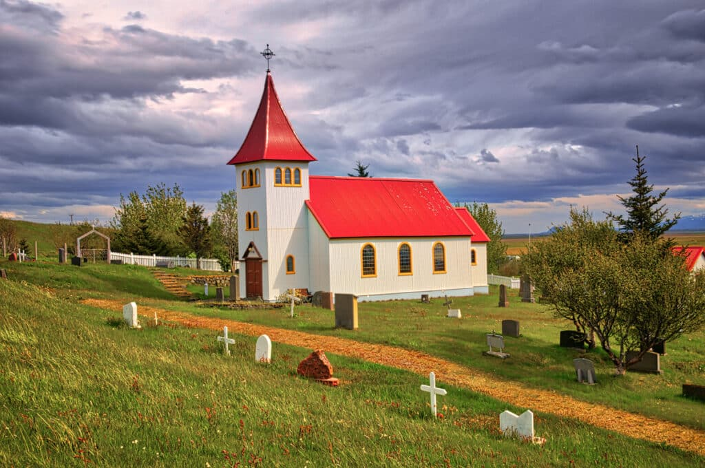 The variety of grave markers at Oddi gives a clue of how much Icelanders treasure independence, even in matters of religion. Oddi is just off the Ring Road in southwestern Iceland.