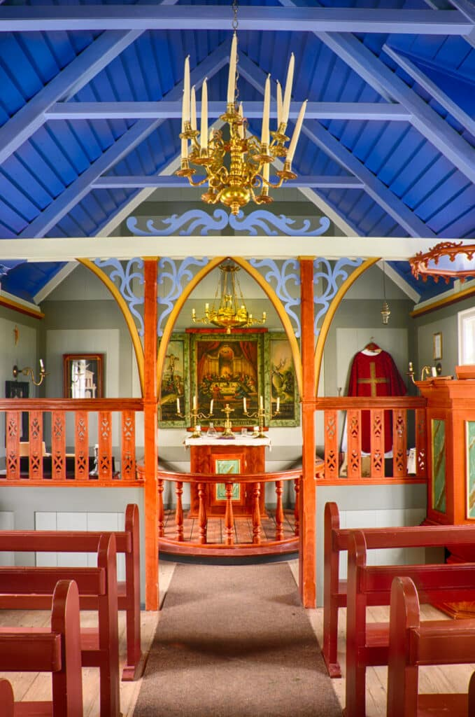 This is the interior of Skogar Church. Skogakirkja is on the grounds of the Skogar Museum, west of Vik in southern Iceland.