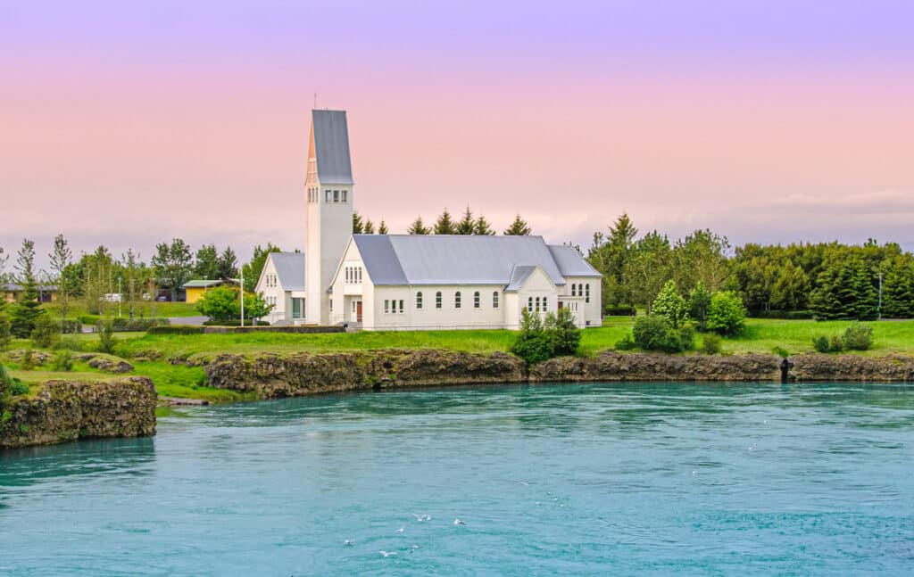 Church in the town of Selfoss in southwestern Iceland. The church overlooks the river Ölfusá.