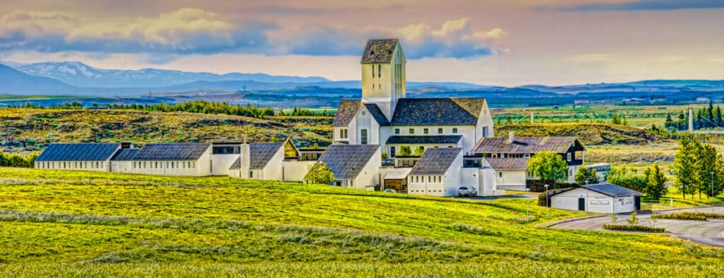 A view of the Skálholt Church complex in southwestern Iceland.