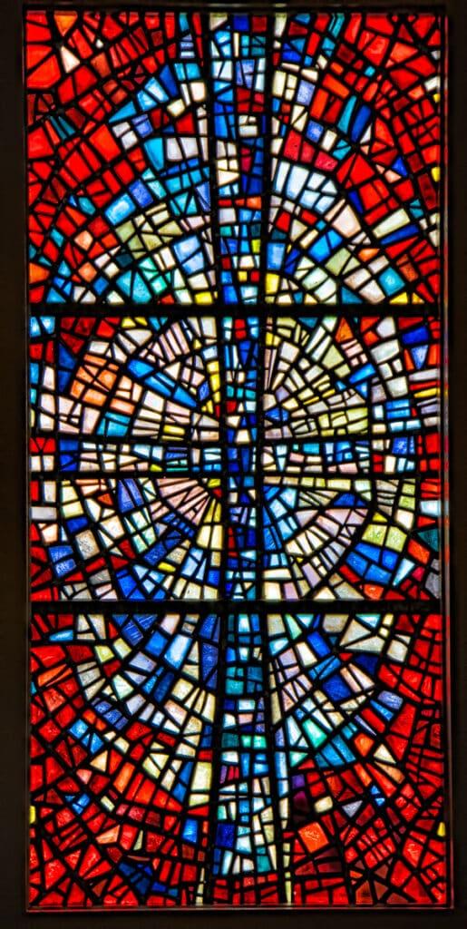 This is a close-up of one of the magnificient leaded glass windows, created by Icelandic artist Gerður Hel- gadóttir, for Skálholt Church.