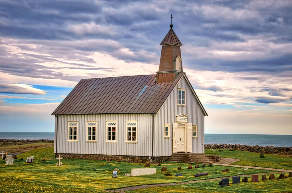 The name is fitting as the church overlooks the Atlantic and is visible from far at sea. It is locaded on the southern coast of the Reykjanes peninsula in Iceland.
