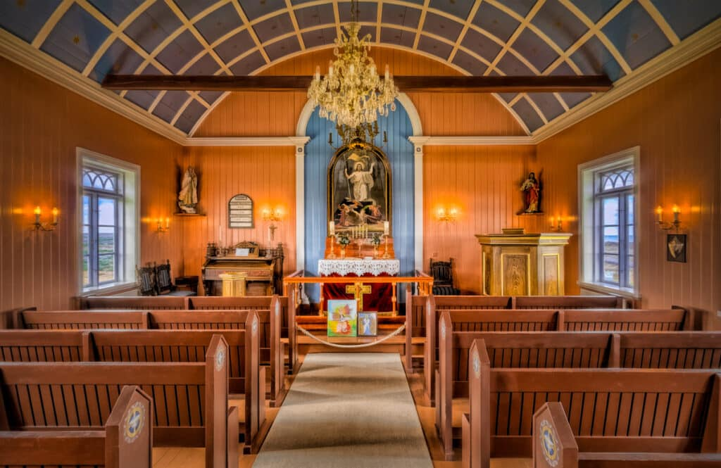 Interior view of Strandarkirkja, a small church on the southern coast of Reykjanes in Iceland.