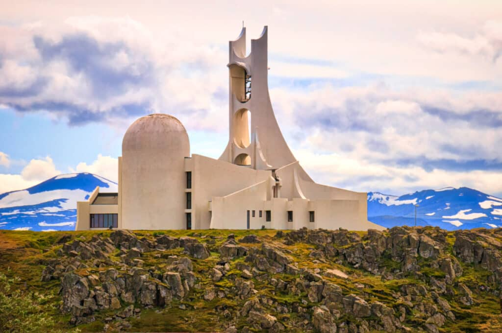 This white concrete church, in Stykkishólmur, was consecrated in 1980. Standing high on a hill overlooking the town, the structure looks a little like a nuclear power facility—especially the apse, which makes me think of a cooling tower.
