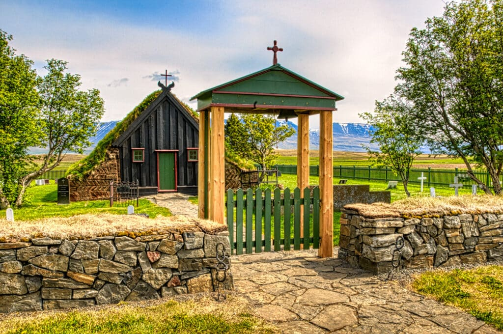 The church Víðimýrarkirkja in northern Iceland. The turf roof and sod bricks made the most of what little wood could be spared for construction.