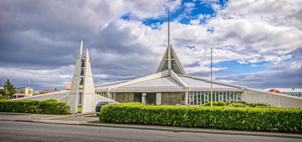 This modern church designed by the architects Ormar Þór Guðmundsson and Örnólfur Hall, is located in Reykjanesbær (Njarðvík), Iceland.