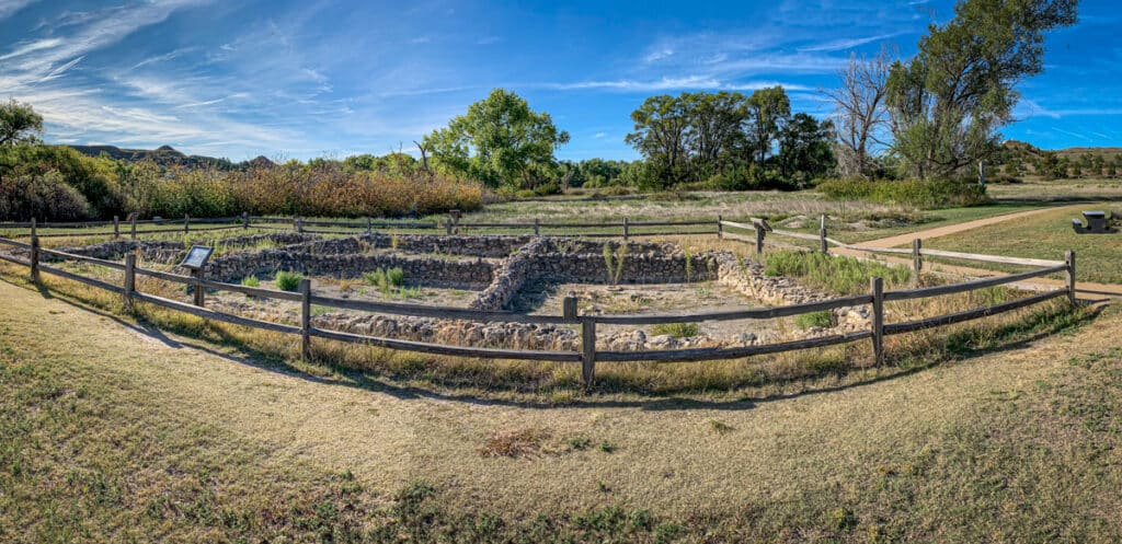 The reconstructed foundations of a pueblo, which was built by refugees of the Taos Pueblo in New Mexico in the 1600s. It is located in Lake Scott State Park, Kansas.