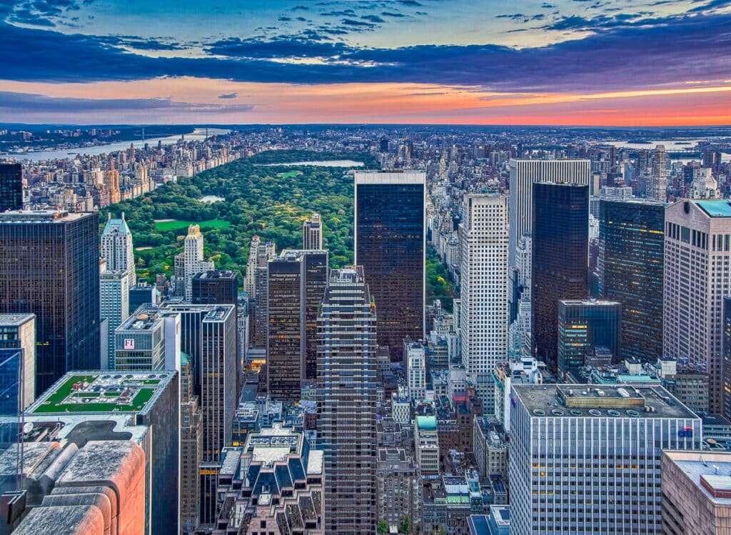 Sunrise view of Central Park in New York City taken from the top of 30 Rockefeller Center.
