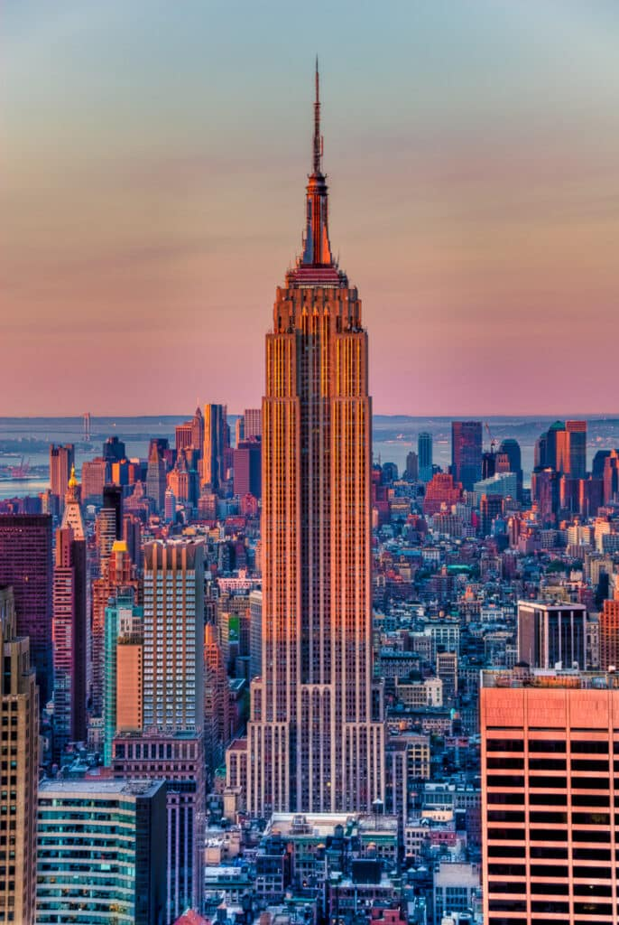 View of Empire State Building from 30 Rockefeller Center, New York City
