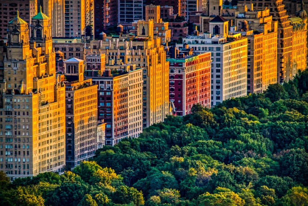 A view of the apartment buildings along Central Park West ,with the Beresford to the left, in New York City.