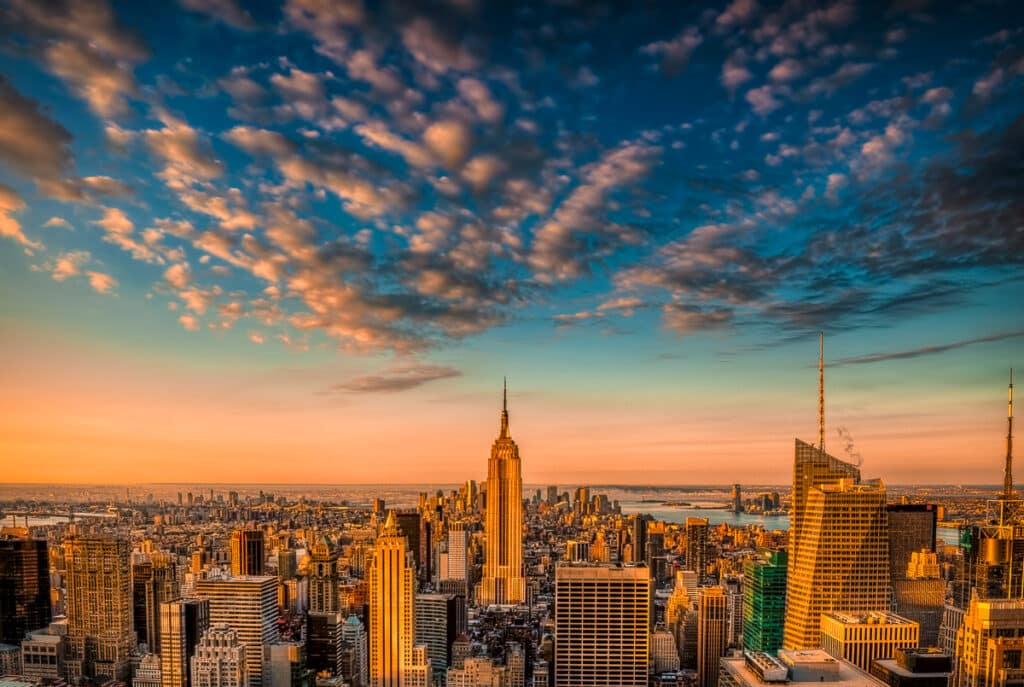 A view of uptown Manhattan from 30 Rockefeller Center, New York City.