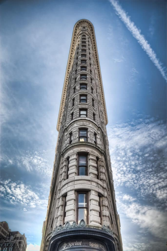 View of the Flatiron Building in lower mid-town Manhattan, New York City.