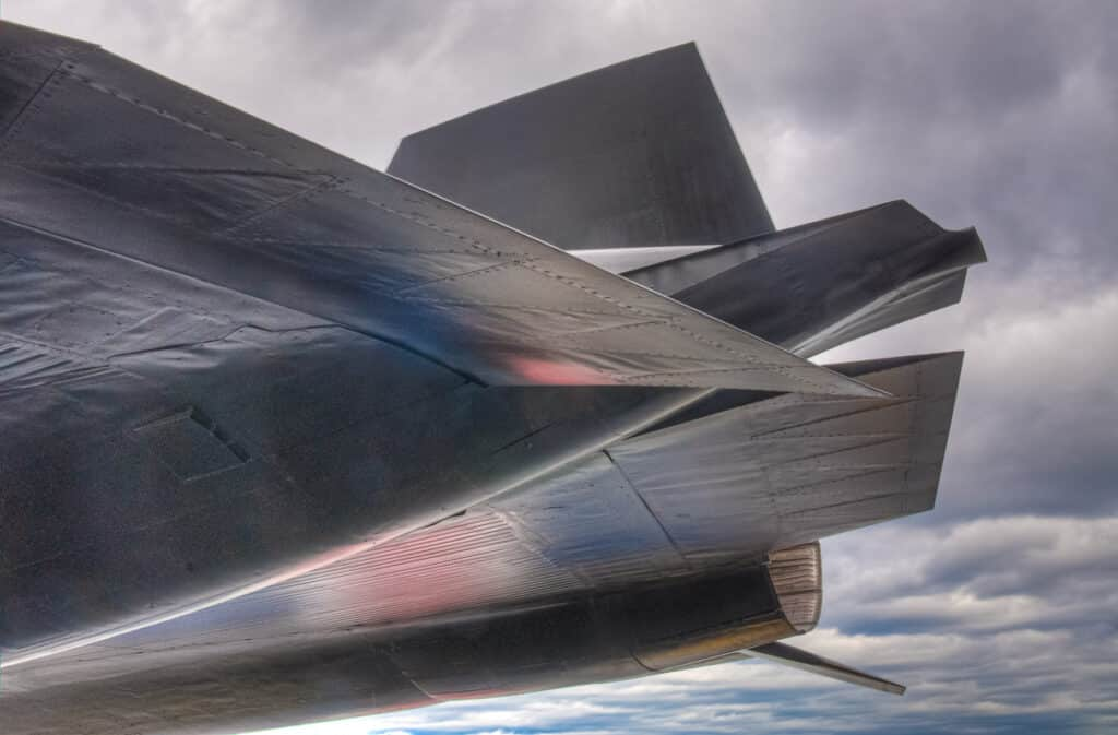 A detail of an SR-71 Blackbird on the deck of the USS Intrepid in New York City.