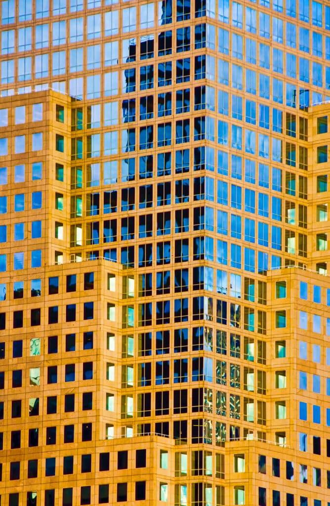 Detail of a skyscraper on a Manhattan street in New York City.