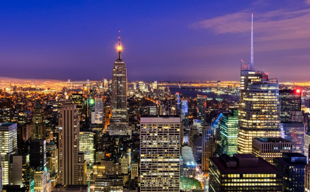 An early morning view of uptown Manhattan from 30 Rockefeller Center, New York City.