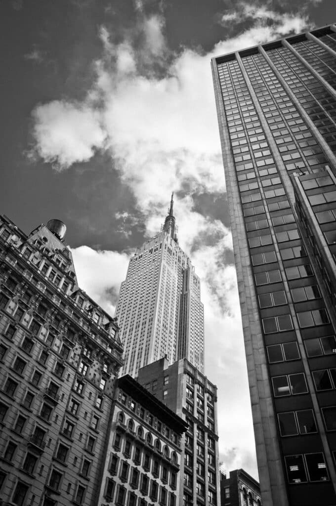A classic view of the Empire State Building from street level in New Tork City.