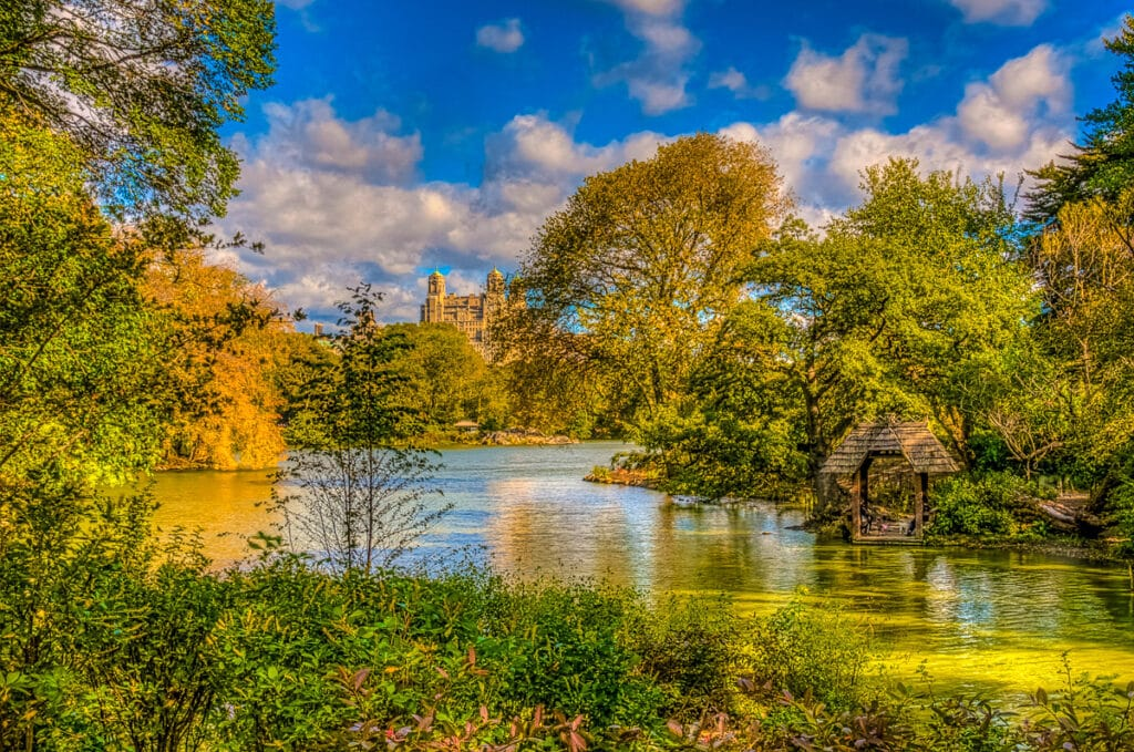 A restful view of The Pond in Central Park in New York City.