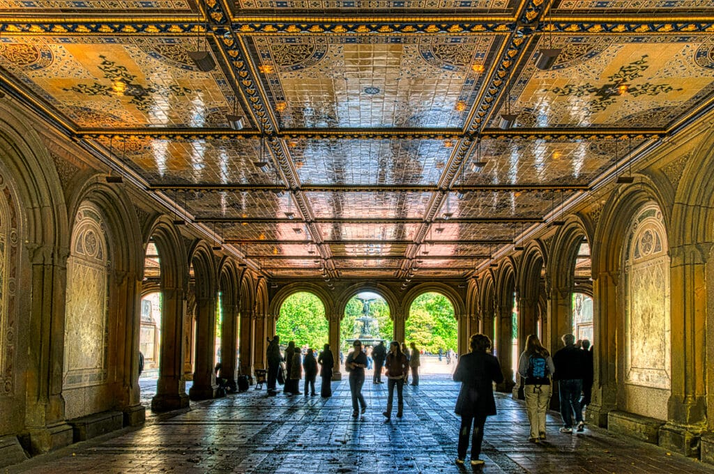 Minton tiles are featured in this view of the Bethesda Fountain through the arcade beneath the Bethesda Terrace in Central Park in New York City.