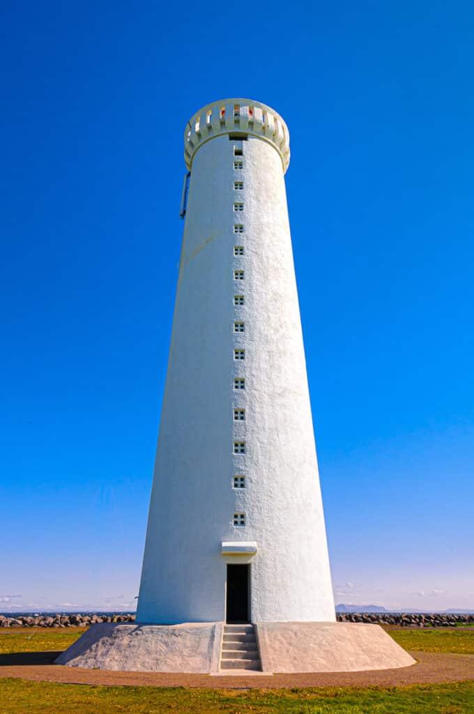 The lighthouse at Garðskagi on the tip of Reykjanes, the peninsula at the southwest corner of Iceland.