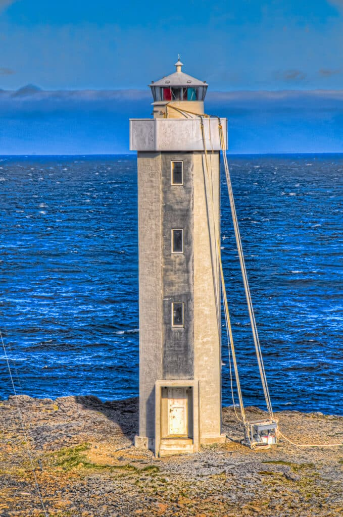 Streitisviti Lighthouse is on Route 1, north up the coast from Djúpivogur. It looks like the lighthouse is in the process of being repainted.