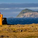 The lighthouse Hafnarnesviti and the island Skrúdur. This photo is part of the Iceland's Lighthouses series.